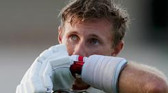 England's captain Joe Root leaves the field after day three of the third cricket Test match against West Indies at the Daren Sammy Cricket Ground in Gros Islet, St. Lucia, Monday, Feb. 11, 2019. (AP Photo/Ricardo Mazalan)