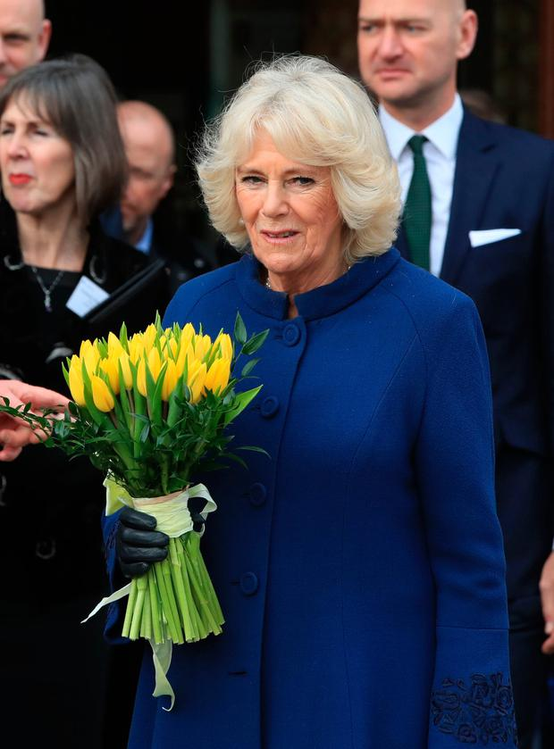 The Duchess of Cornwall after attending a reception at Victoria Gallery and Museum, University of Liverpool, to celebrate the Prince of Wales and Irish President Michael D Higgins' joint patronage of the Liverpool Institute of Irish Studies. Peter Byrne/PA Wire