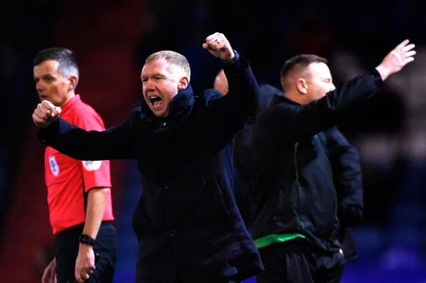 OLDHAM, ENGLAND - FEBRUARY 12: Paul Scholes, Manager of Oldham Athletic celebrates his sides first goal scored by Jose Baxter (Not pictured) during the Sky Bet League Two match between Oldham Athletic and Yeovil Town at Boundary Park on February 12, 2019 in Oldham, United Kingdom. (Photo by Nathan Stirk/Getty Images)