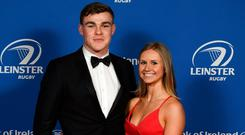 Support: Leinster centre Garry Ringrose with girlfriend Ellen Beirne. Photo: SPORTSFILE