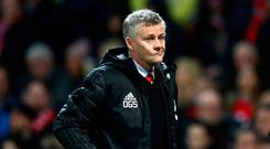 Ole Gunnar Solskjaer, Manager of Manchester United during the UEFA Champions League Round of 16 First Leg match between Manchester United and Paris Saint-Germain at Old Trafford on February 12, 2019 in Manchester, England. (Photo by Michael Steele/Getty Images)