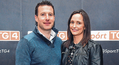 Former Limerick hurler Andrew O'Shaughnessy with his wife Eimear at the Laochra Gael Launch at the Dean Hotel in Dublin yesterday. Photo: Matt Browne/Sportsfile