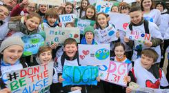Pupils from Educate Together Donabate Portrane protest at Leinster House. Photo: Gareth Chaney