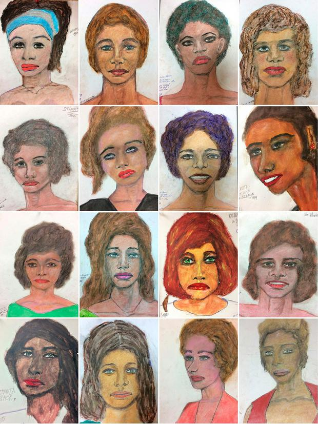 This combination of pictures created on February 13, 2019 shows sixteen recent drawings released by the Federal Bureau of Investigation (FBI), by suspect Samuel Little, based on his memories of some of his female victims from various locations spread across the US. AFP PHOTO / FBI/HANDOUT