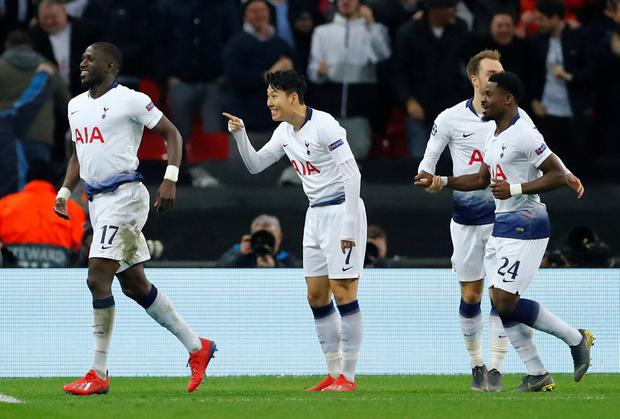 ONE UP: Son Heung-Min gestures after opening the scoring at Wembley. Photo: REUTERS