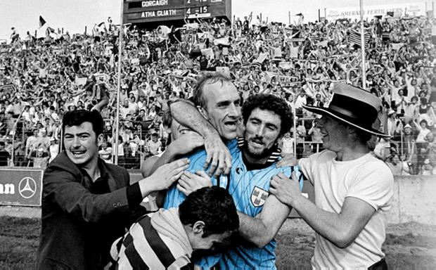 FAMOUS DAY: Dublin's Brian Mullins and Kieran Duff celebrate their victory over Cork in the 1983 All-Ireland SFC semi-final replay at Páirc Uí Chaoimh. Photo: Ray McManus/SPORTSFILE
