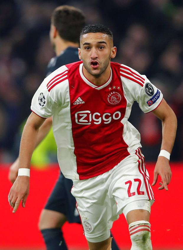 Ajax's Hakim Ziyech celebrates after scorine his side's goal REUTERS/Wolfgang Rattay