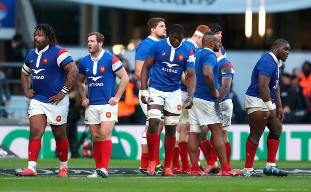 France dejected during defeat to England