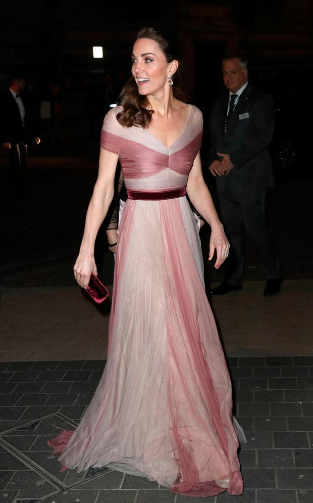 Catherine, Duchess of Cambridge, patron of 100 Women in Finance's Philanthropic Initiatives, attends a Gala Dinner in aid of Mentally Healthy Schools at the Victoria and Albert Museum on February 13, 2019 in London, England. (Photo by Chris Jackson/Getty Images)