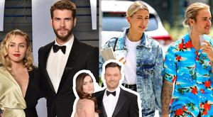 Miley Cyrus and Liam Hemsworth, left, Hailey and Justin Bieber, right, Megan Fox and Brian Austin Green, inset centre