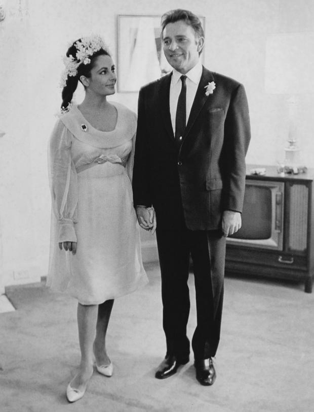 15th March 1964: British film stars Elizabeth Taylor (1932 - 2011) and Richard Burton (1925 - 1984) at their first wedding in Montreal, Canada. They married twice, but both marriages ended in divorce. (Photo by William Lovelace/Evening Standard/Getty Images)