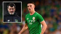 Declan Rice and (inset) Roy Keane