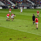 Last of the action: Cork and Kildare in Allianz League action at Páirc Uí Chaoimh earlier this month. Photo by Eóin Noonan/Sportsfile
