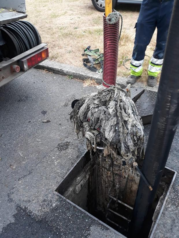 A blockage of wet wipes pulled from a sewer