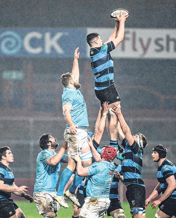 Shannon's Charlie Carmody vies for possession in a lineout