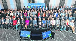 Investment: EI's class of 2018, made up of 132 startups, with Business Minister Heather Humphreys, EI CEO Julie Sinnamon and chairman Terence O'Rourke, and EI's Joe Healy and Sheelagh Daly. PHOTO: SHANE O'NEILL/SON PHOTOGRAPHIC