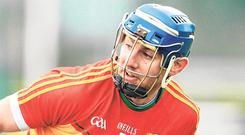 On the rise: Carlow's Eoin Nolan in action during their drawn match against Galway. Photo: Sportsfile