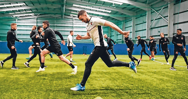 Michael Duffy going through his paces at Dundalk's new training centre. Photo: Sportsfile