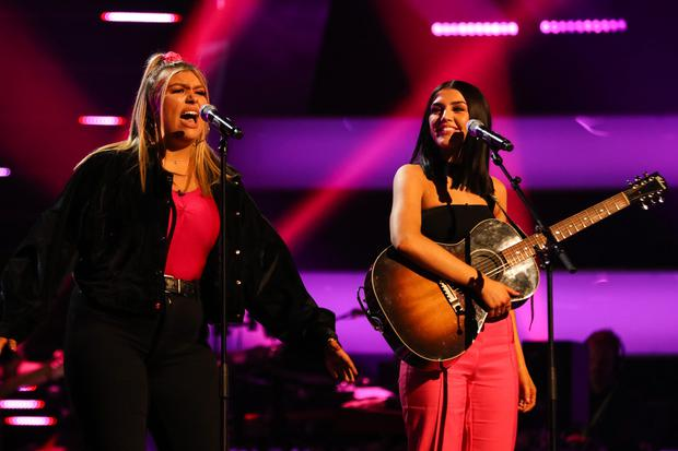 Georgia and Missy perform as GGMK on The Voice UK episode 7, Saturday February 16. PIC: ITV Studios