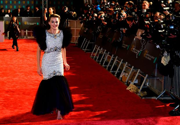 Margot Robbie attending the 72nd British Academy Film Awards held at the Royal Albert Hall. Photo: Ian West/PA Wire