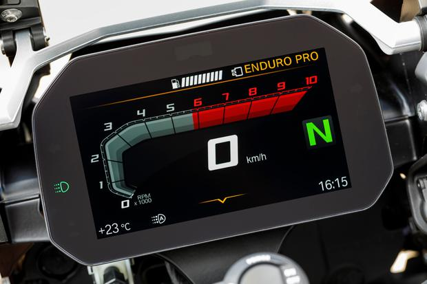 TFT display comes as standard on the new BMW R1250GS; Rider Modes Pro featured on the Rallye model we tested