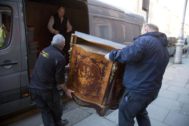 Furniture is removed from solicitor Gerald Kean's office on Upper Pembroke Street, Dublin 2. PIC COLIN O'RIORDAN