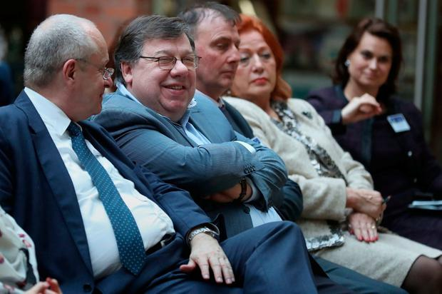 Former Taoiseach Brian Cowen (2nd left) at The European Economic and Social Committee conference at Queen's University in Belfast. Brian Lawless/PA Wire