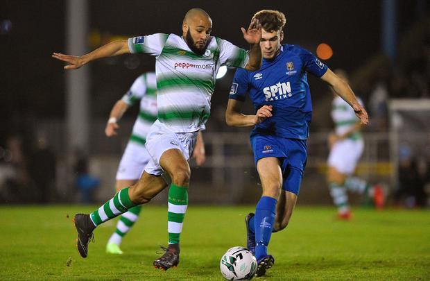 Ethan Boyle of Shamrock Rovers in action against Aaron Drinan of Waterford during the SSE Airtricity League Premier Division match between Waterford and Shamrock Rovers at the RSC in Waterford. Photo by Matt Browne/Sportsfile