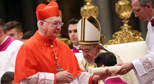 Promotion: Pope Francis has appointed Irish Cardinal Kevin Farrell as camerlengo in a sign that he is well thought of by the pontiff in the Vatican. Photo: Getty