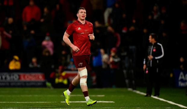 Chris Farrell of Munster leaves the field after being replaced by team-mate Dan Goggin during the first half of the Guinness PRO14 Round 15 match between Munster and Southern Kings at Irish Independent Park in Cork. Photo by Diarmuid Greene/Sportsfile