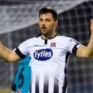 Patrick Hoban of Dundalk reacts after a missed shot on goal during the SSE Airtricity League Premier Division match between Dundalk and Sligo Rovers at Oriel Park in Dundalk, Louth. Photo by Ben McShane/Sportsfile