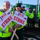 Taking a stand: The Psychiatric Nursing Association held a strike yesterday over union recognition.