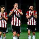 Eoin Toal of Derry City, centre, celebrates after the SSE Airtricity League Premier Division match between Derry City and UCD at the Ryan McBride Brandywell Stadium in Derry. Photo by Oliver McVeigh/Sportsfile