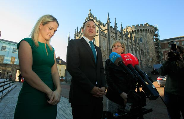 Standing together: From left, European Affairs Minister Helen McEntee, Taoiseach Leo Varadkar, Mairead McGuinness MEP during an all-island civic dialogue on Brexit at Dublin Castle yesterday. Photo: Gareth Chaney