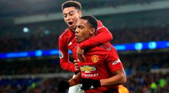 Anthony Martial with team-mate Jesse Lingard. Photo: Marc Atkins/Getty Images