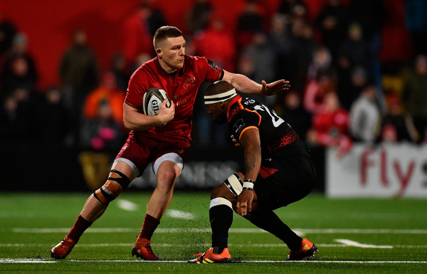 Munster's Andrew Conway is tackled by Andisa Ntsila of Southern Kings. Photo: Sportsfile