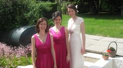 Maid of more: Author Natasha Mac a'Bháird (centre) at the wedding of her sister Áine, with the bride and fellow bridesmaid Sarah
