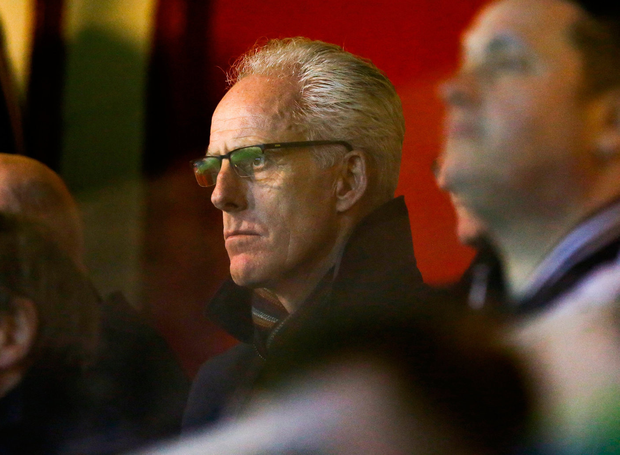 Republic of Ireland manager Mick McCarthy looks on during the match between St Patrick's Athletic and Cork City. Photo: Sportsfile