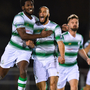 Ethan Boyle of Shamrock Rovers, right, celebrates after scoring the winning goal against Waterford with team-mate Dan Carr