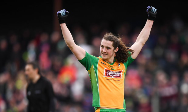 Kieran Molloy of Corofin celebrates at the final whistle of the AIB GAA Football All-Ireland Senior Championship Semi-Final match between Corofin, Galway, and Gaoth Dobhair, Donegal, at Avantcard Páirc Sean Mac Diarmada in Carrick-on-Shannon, Leitrim. Photo by Stephen McCarthy/Sportsfile