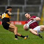 Dónal McElligott of Mullinalaghta St Columba's in action against Micheál Burns of Dr Crokes during the AIB GAA Football All-Ireland Senior Club Championship Semi-Final match between Mullinalaghta St Columbas and Dr Crokes at Semple Stadium in Thurles, Tipperary. Photo by Seb Daly/Sportsfile