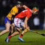 16 February 2019; Stephen McDonnell of Cork in action against Ian Galvin of Clare during the Allianz Hurling League Division 1A Round 3 match between Cork and Clare at Páirc Uí Rinn in Cork. Photo by Piaras Ó Mídheach/Sportsfile