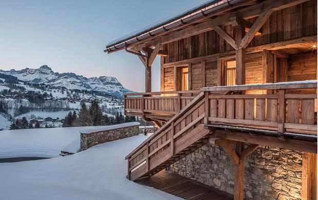 Megeve — 320sqm traditional five-bed villa with modern fixtures. Includes spa, fitness room, separate apartment for caretakers and a ski room. Price €7.35m; home-hunts.com.