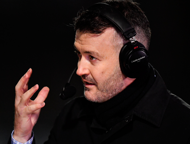 GPA President Donal Óg Cusack, in his role as RTÉ Sports analyst at half-time. Photo: Sportsfile