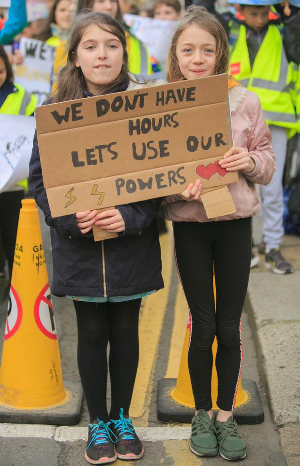 PROTEST: Students Layla McHugh and Katie Magee