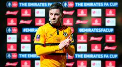 Newport County's Padraig Amond applauds the fans after the final whistle of the FA Cup fifth round match at Rodney Parade, Newport. PRESS ASSOCIATION Photo. Picture date: Saturday February 16, 2019. See PA story SOCCER Newport. Photo credit should read: Nick Potts/PA Wire.