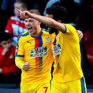 Crystal Palace's Max Meyer (left) celebrates scoring his side's second goal of the game with team-mate Andros Townsend