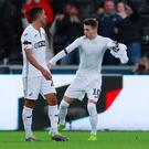 Swansea City's Bersant Celina celebrates scoring their third goal