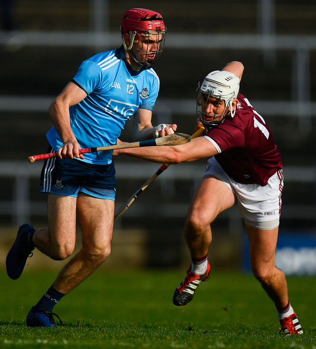 Dublin's Danny Sutcliffe in action against Jason Flynn of Galway at Pearse Stadium. Photo: Harry Murphy/Sportsfile