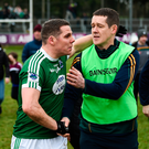 Kevin Cassidy of Gaoth Dobhair and Corofin manager Kevin O'Brien shake hands at the final whistle following Saturday's AIB All-Ireland Club SFC semi-final at Carrick-on-Shannon. Photo by Stephen McCarthy/Sportsfile